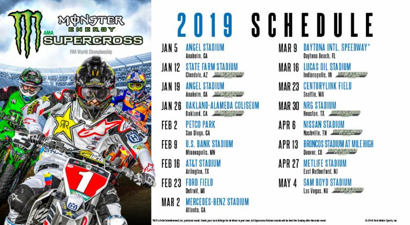 Monster Energy Supercross 2019 Schedule