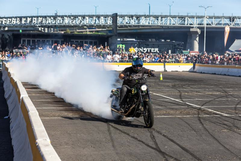 Motorcycle stunt riders - Unknown Industries - will perform wheelies - drifts and other amazing tricks inside of the Pit Party - Monster Energy Cup