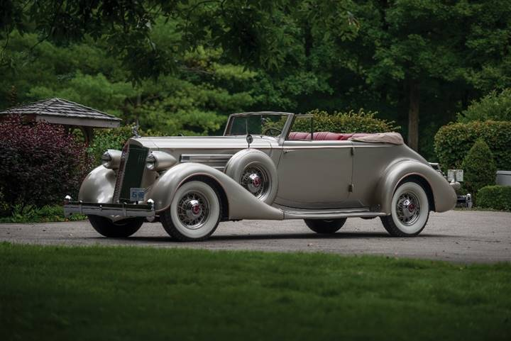 The 1936 Packard Twelve Convertible Victoria offered from The Lloyd Needham Collection (Darin Schnabel © 2018 Courtesy of RM Auctions)