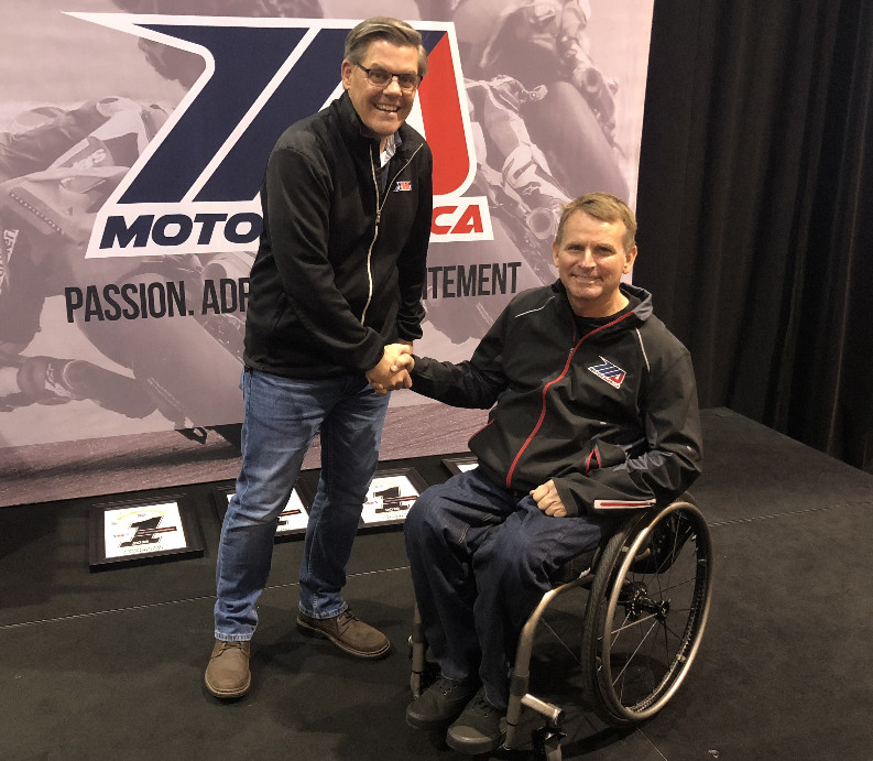 American Motorcyclist Association President and CEO Rob Dingman and MotoAmerica President Wayne Rainey