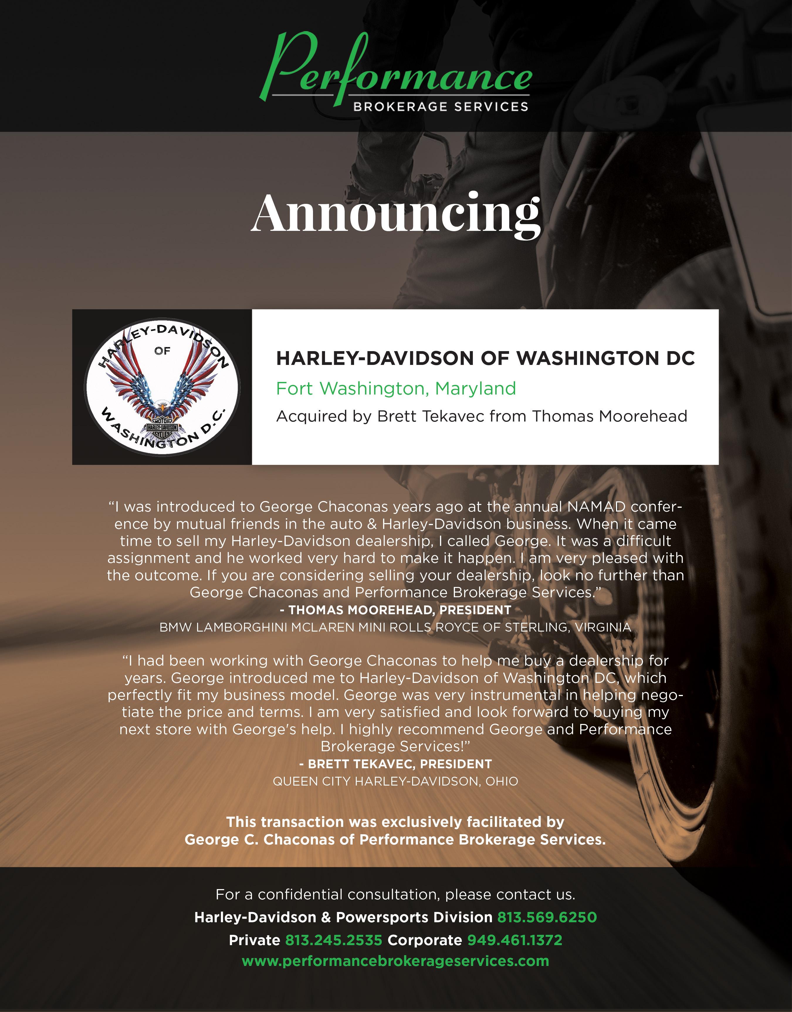 Harley-Davidson of Washington DC - Performance Brokerage