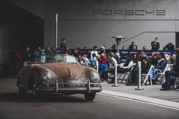 Porsche Sale - The wonderfully distressed 1958 Porsche 356 A 1600 'Super' Speedster draws eyes and bids at the Porsche Experience Center Atlanta