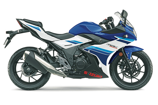 2019 Suzuki GSX250R ABS in Metallic Crystal Blue - Pearl Glacier White