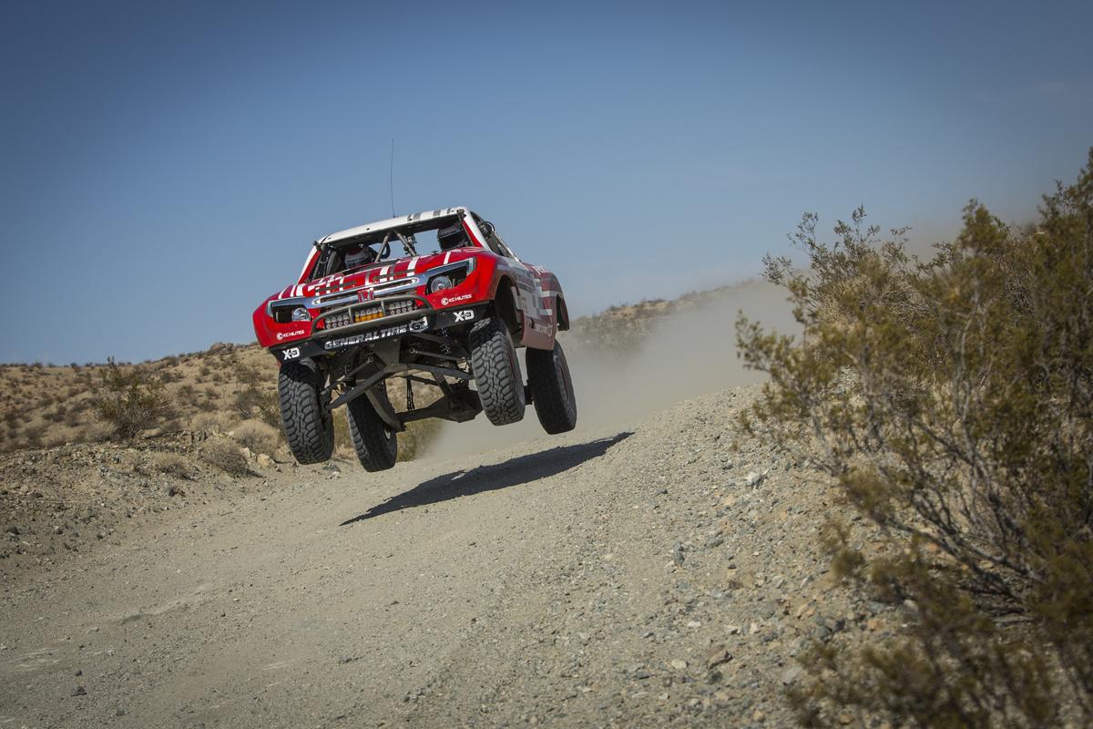 Alexander Rossi testing the Ridgeline Baja Desert Truck.