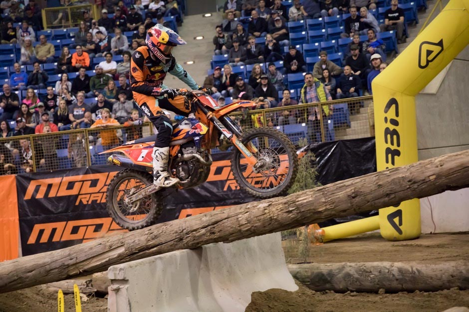 Denver Endurocross - Cody Webb took this sketchy log crossing nearly every time