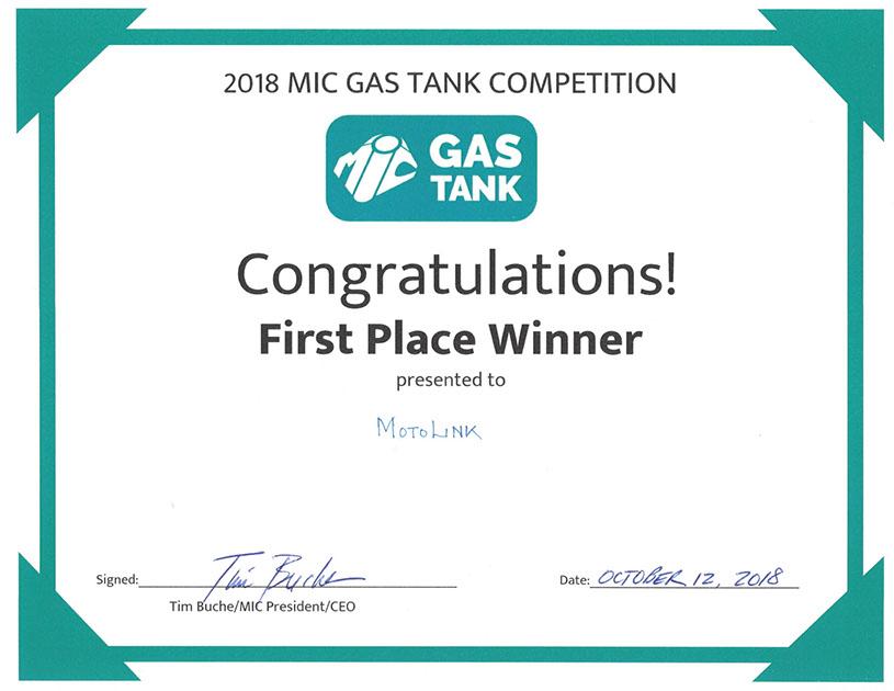 MotoLink - gas tank certificate