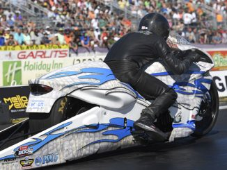 NHRA Toyota Nationals - Pro Stock Motorcycle - Jerry Savoie - action