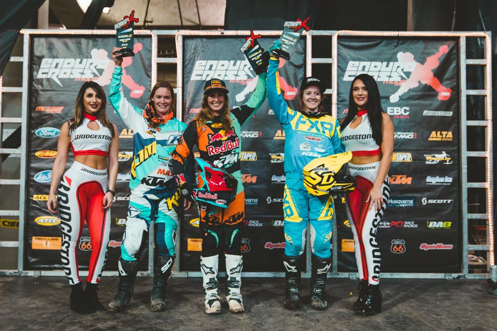 Washington Endurocross - Kacy Martinez (Center) Shelby Turner (Right) and Maria Forsberg earned the top three spots in Everett