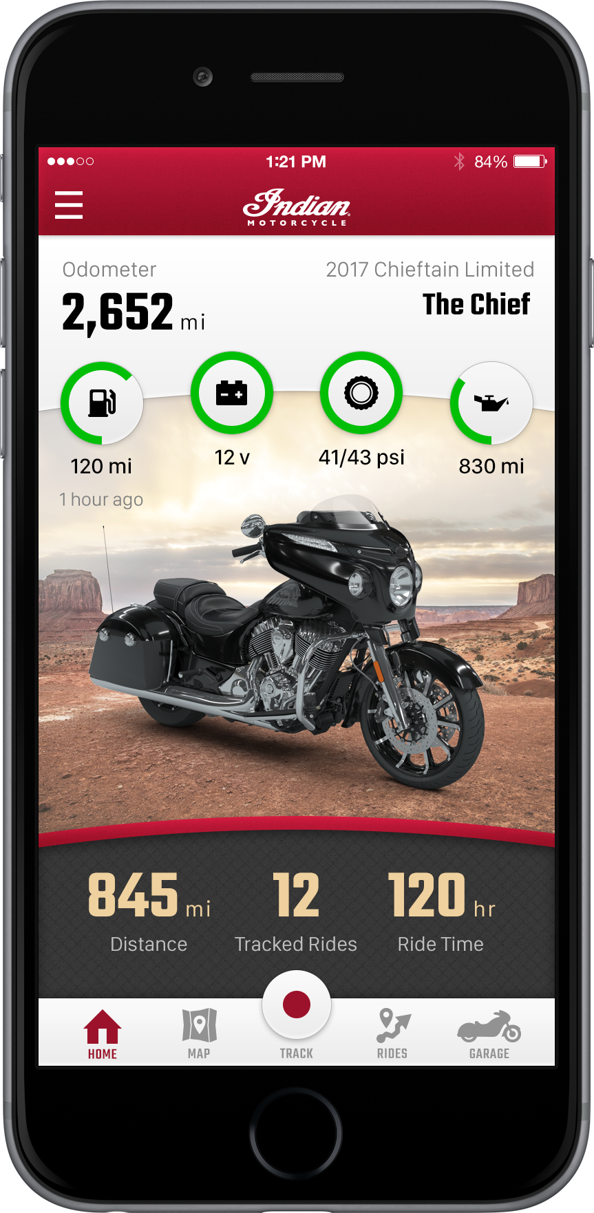 Indian Motorcycle Ride Command App Home