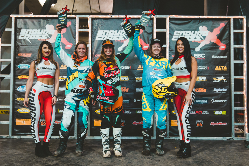 Boise EnduroCross - Kacy Martinez (Center) and Shelby Turner (Right) have each finished first or second at every race so far in 2018