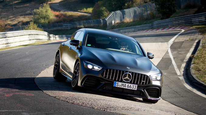 the new Mercedes-AMG GT 63 S is the world's fastest series production four-seater on the legendary North Loop of the Nürburgring