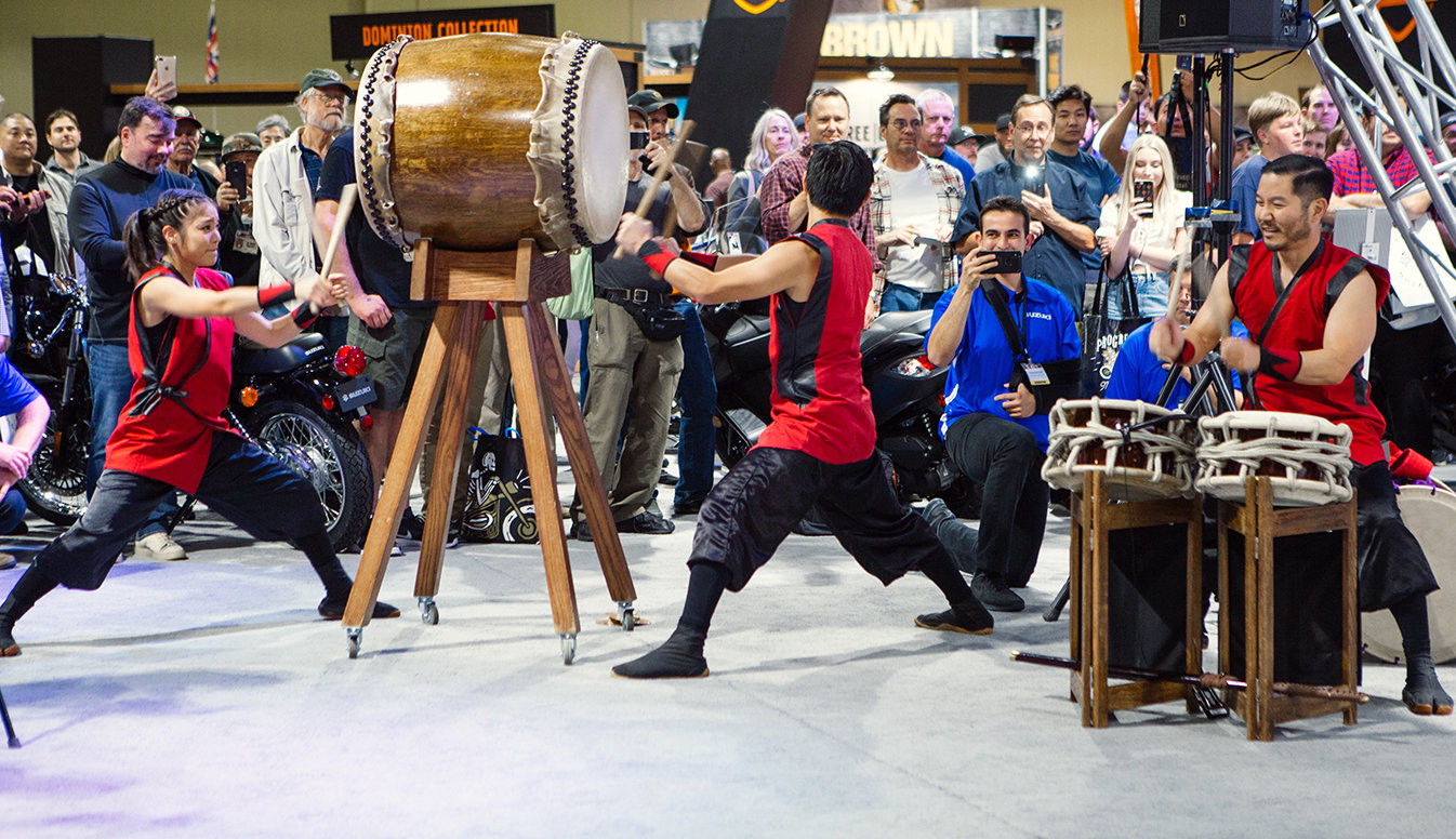 The authentic beat from seven taiko drummers provided the standing-room-only crowd an emotional punch befitting the KATANA's debut.