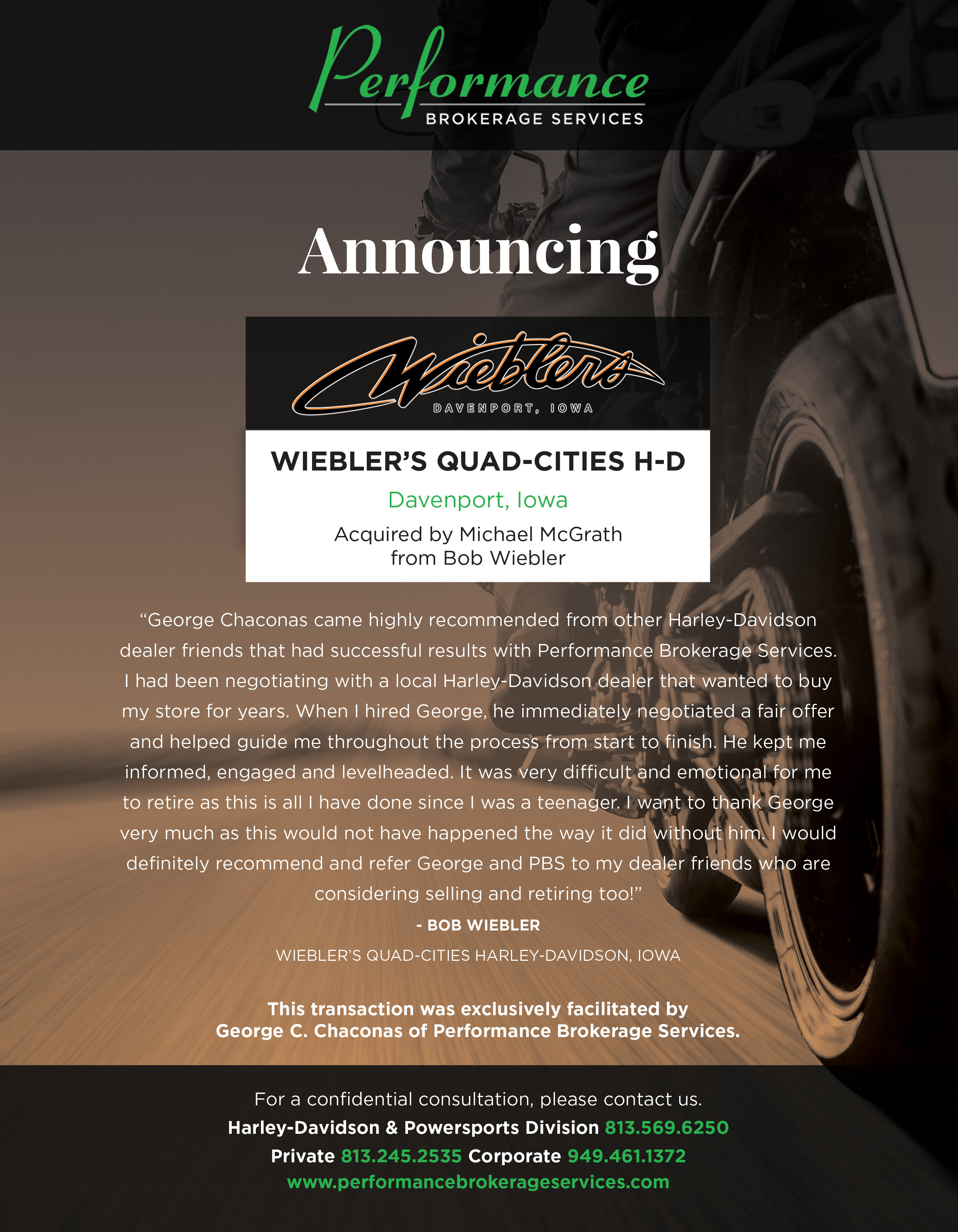 Performance Brokerage Services, Inc. sale of Wiebler's Quad-Cities Harley-Davidson