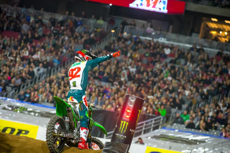 Adam Cianciarulo saluting the Glendale crowd after capturing his first win of the season. Photo credit- Feld Entertainment Inc.