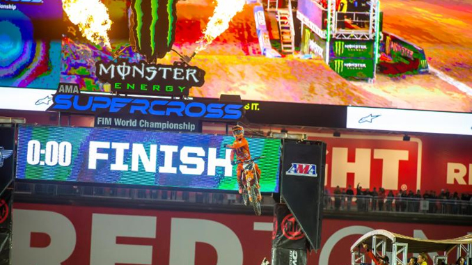 Blake Baggett scores his first-ever 450SX Class Main Event.Photo credit- Feld Entertainment Inc.