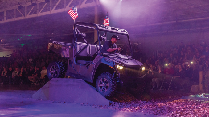 Luke Bryan kicks the dust up while introducing the all-new Tracker Off Road ATV and Side by Side line