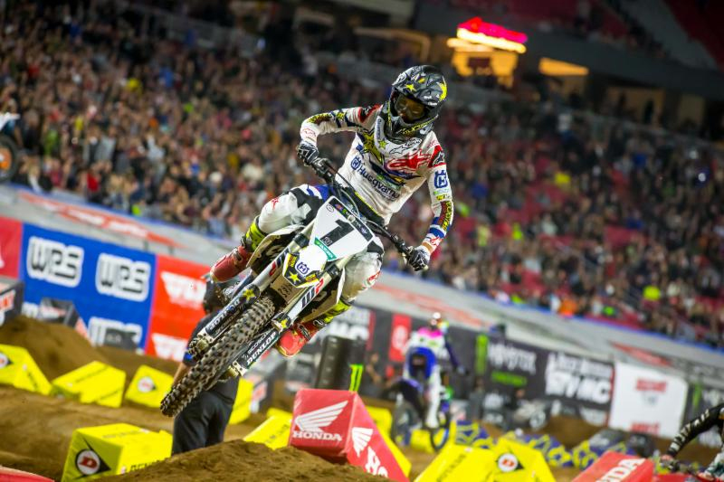 Reigning Champion Jason Anderson looking to form in the 450SX Class Main Event. Photo credit- Feld Entertainment Inc.