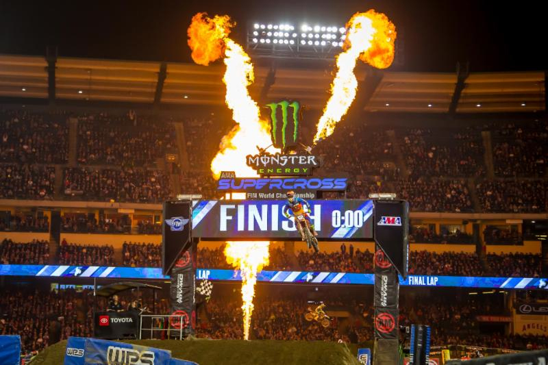 Shane McElrath crossing the Finishing Line Jump after securing his first 250SX Class - Monster Energy Supercross Anaheim 2