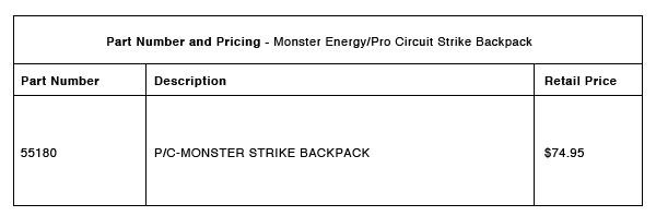 Monster Energy:Pro Circuit Strike Backpack - Part-Number-Pricing-R-1