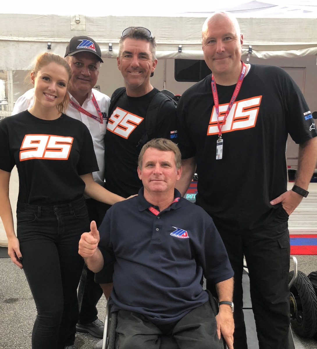 (From left to right) Hannah Lopa, MotoAmerica partner Chuck Aksland, Jason Pridmore, MotoAmerica President Wayne Rainey and Greg White.