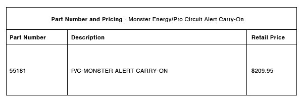 Monster Energy:Pro Circuit Alert Carry-On Part-Number-Pricing-R-1