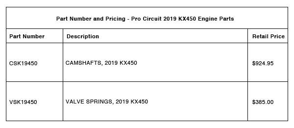 Pro Circuit 2019 KX450 Camshafts and Valve Springs - Part-Number-Pricing-R-2