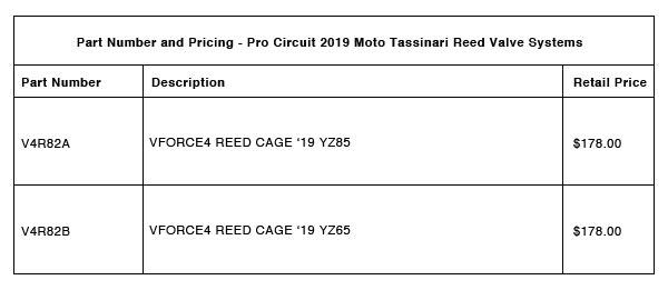 Moto Tassinari VForce4R for 2019 YZ65:85 Models Part-Number-Pricing-R-2