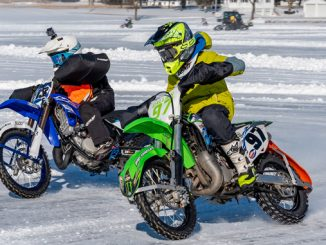 Action photo from 2019 AMA Ice Race National Championship (credit- Jen Muecke)