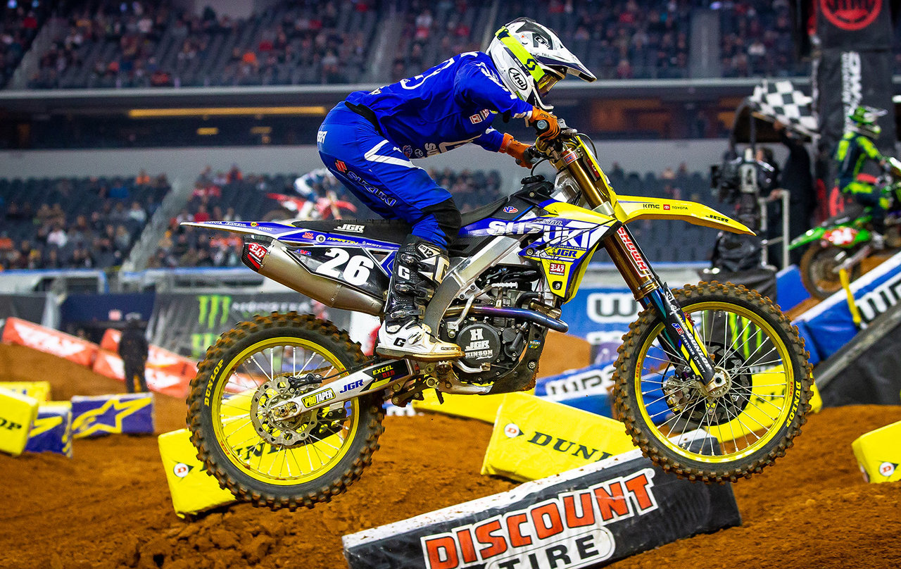Alex Martin (#26) in attack posture through the Arlington Supercross whoops section - JGRMX/Yoshimura/Suzuki Factory Racing