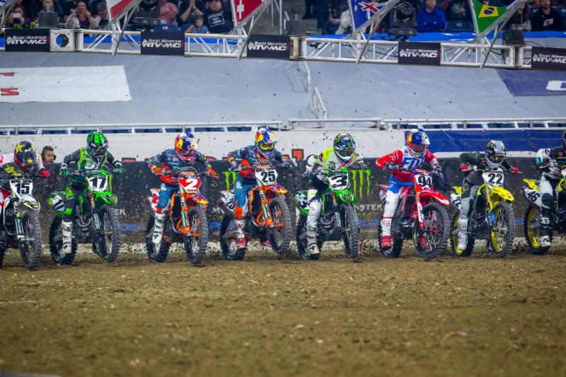 Detroit - Monster Energy Supercross Triple Crown - Cooper Webb (2) led a star-studded gate into the first turn of Main Event 2