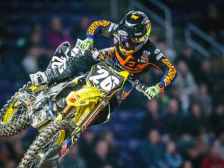 JGRMX newcomer Alex Martin (#26) rode his Suzuki RM-Z250 to a strong 4th place finish - Minneapolis Supercross