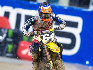 Jimmy Decotis (#64) broke out of the pack and the mud to take the podium on his Suzuki RM-Z250 - San Diego Supercross