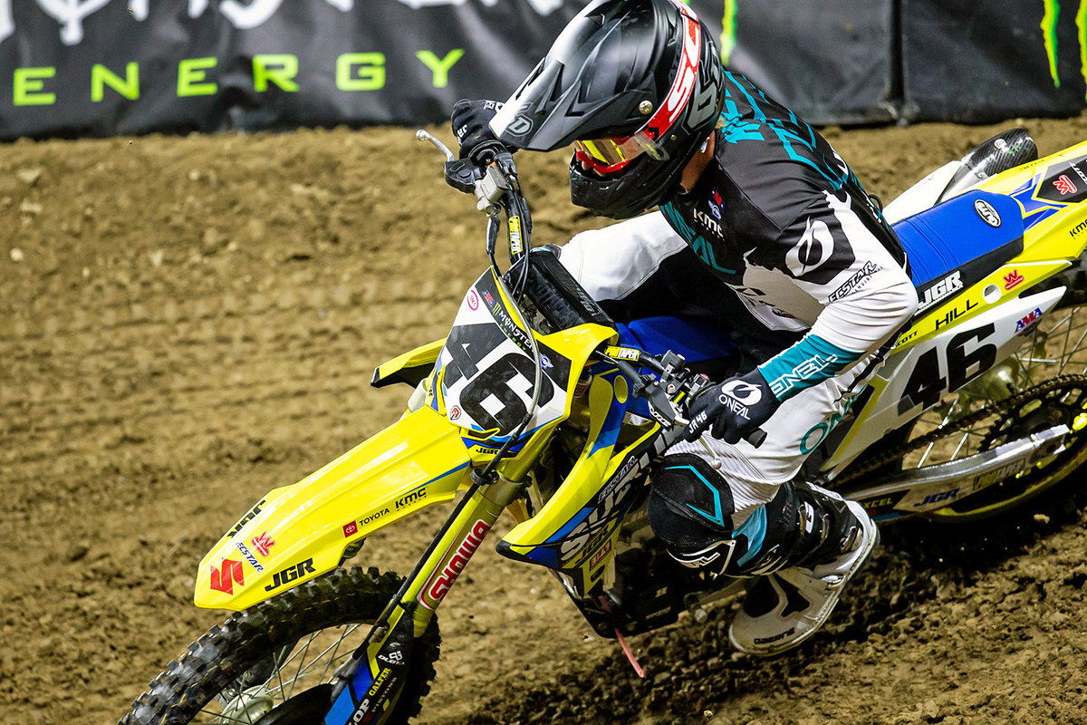Justin Hill (#46) pushed past discomfort from recent injuries - Suzuki - Detroit Monster Energy Supercross