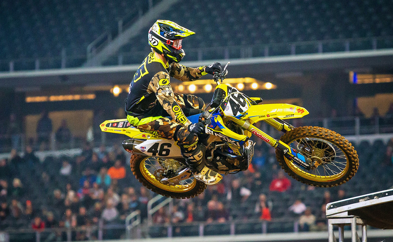 Justin Hill (#46) returned to the 450 championship with good speed after a two-week injury break - JGRMX/Yoshimura/Suzuki Factory Racing