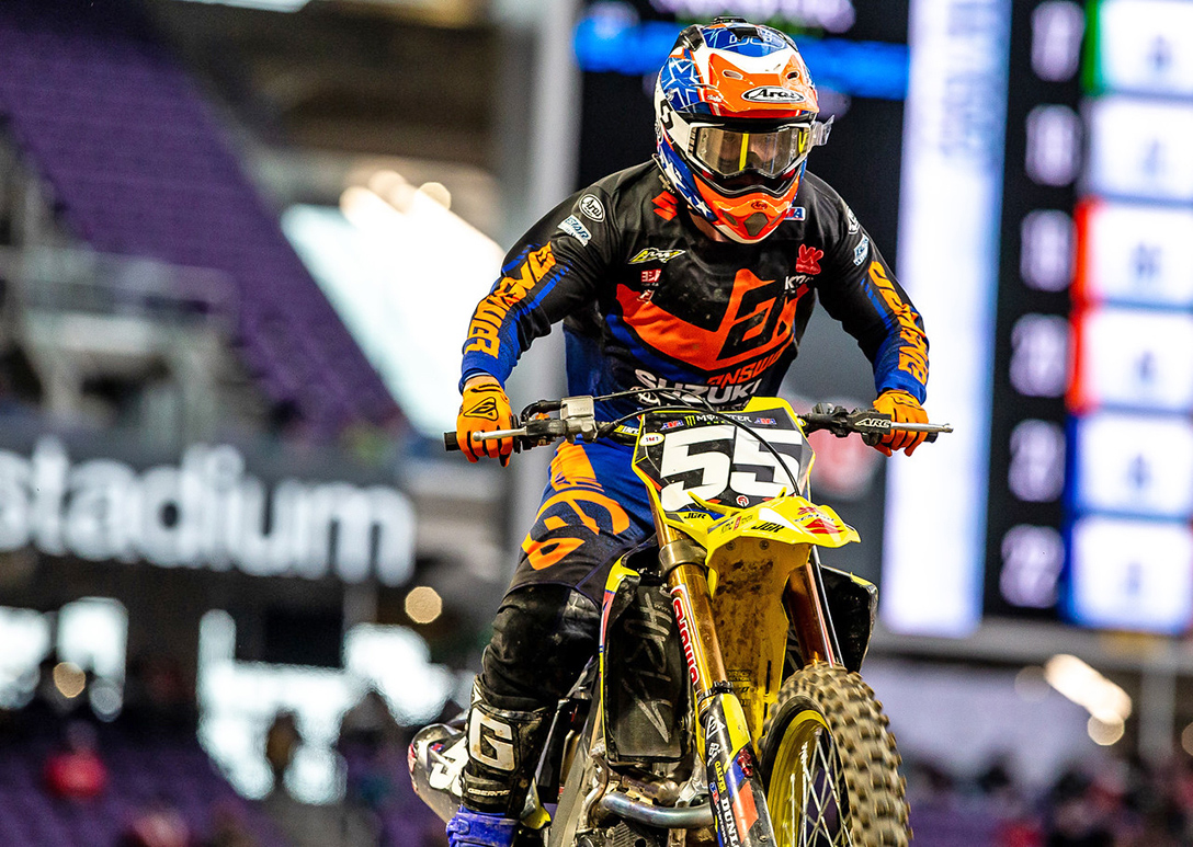 Kyle Peters (#55) achieved his goal of finishing the Minneapolis Supercross round healthy with valuable 250 East Championship points