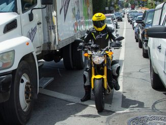 lane-splitting motorcyclist (Credit- Kevin Wing)