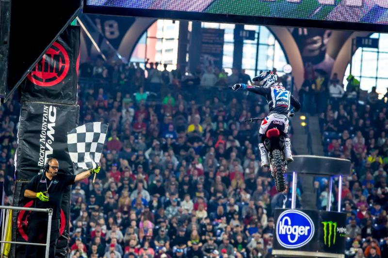 Chase Sexton crossing the checkers in second place - Monster Energy Supercross Indianapolis