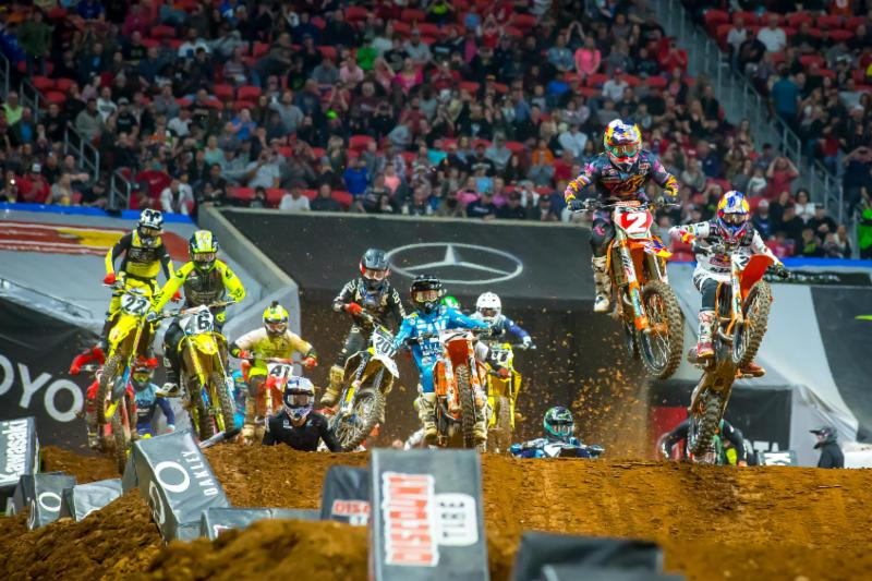 Cooper Webb (2) leading the charge upfront with Marvin Musquin (R) and Blake Baggett (L) closely behind - Atlanta Monster Enegy Supercross