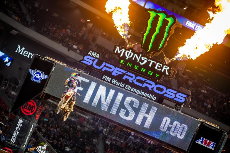 Cooper Webb crossing the finish - Atlanta Monster Enegy Supercross