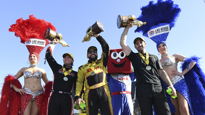 DENSO Spark Plugs NHRA Four-Wide Nationals winners circle