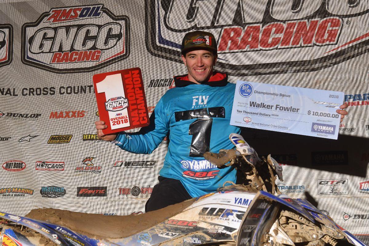 GBC Motorsports athlete Walker Fowler celebrates his 2018 GNCC XC1 Championship