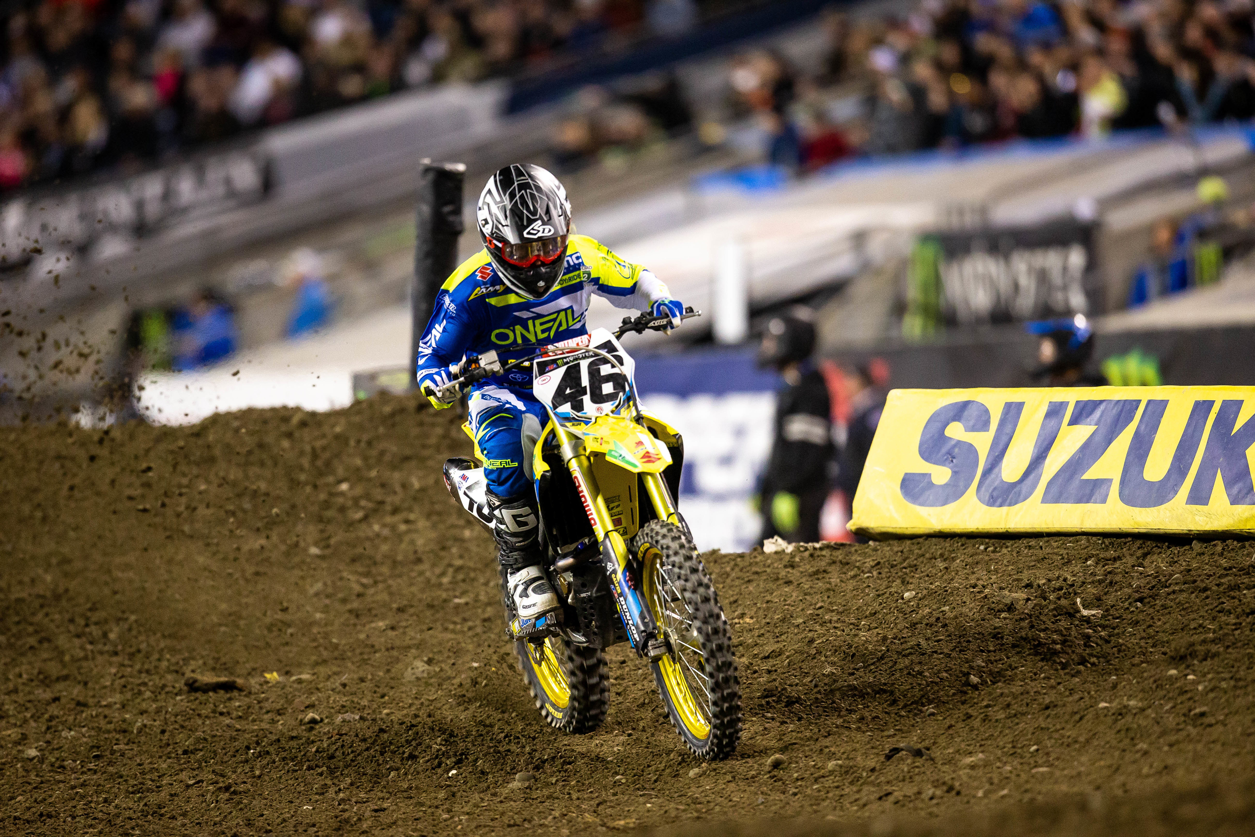 Justin Hill (#46) battles through sickness to cross the checkered flag on his RM-Z450 - Seattle Supercross