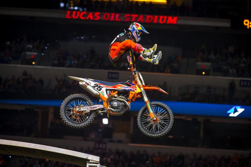 Marvin Musquin celebrating with his signature -heel-clicker- off the Monster Energy Supercross Finish Line