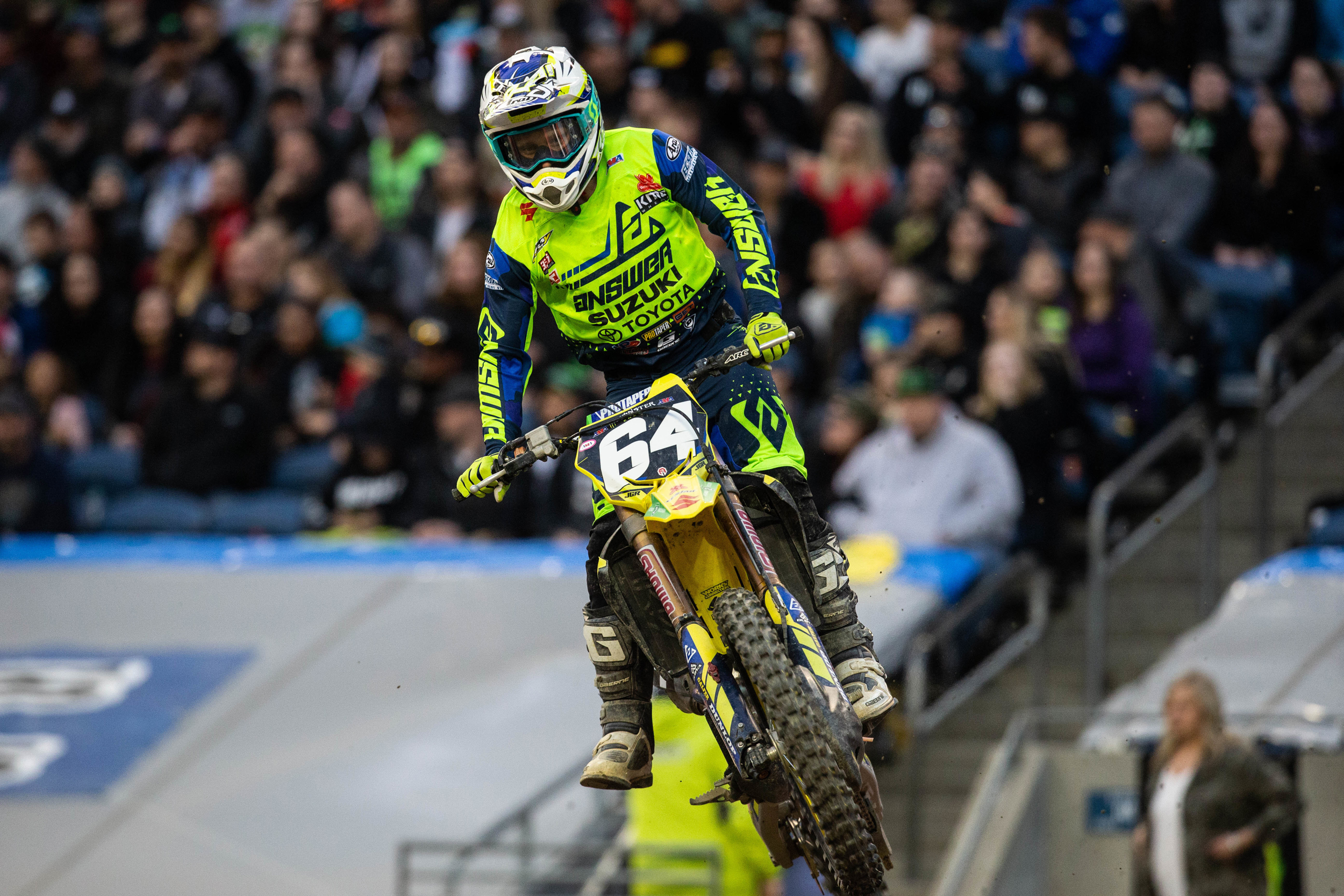 RM-Z250 rider Jimmy Decotis (#64) earns his second podium of the 250 West Series. - Seattle Supercross