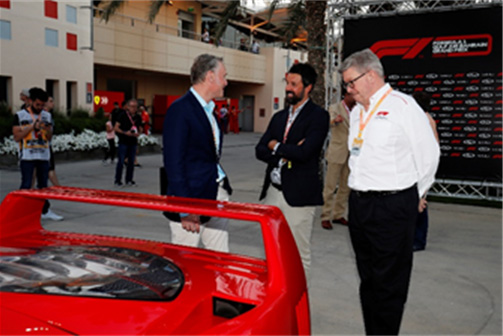 Sean Bratches Shelby Myers and Ross Brawn (Managing Director of Motorsports Formula 1®) chat during the collaboration announcement at the Gulf Air Bahrain Grand Prix 2019 on 29 March 2019