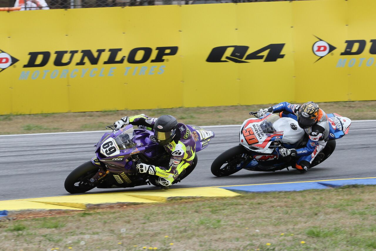 Hayden Gillim (69) beat Bobby Fong (50) after a great battle to win the first Supersport race of the season - Road Atlanta