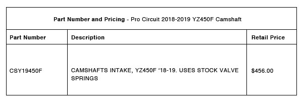 Pro Circuit 2018-2019 YZ450F Camshaft - Part-Number-Pricing-R-1