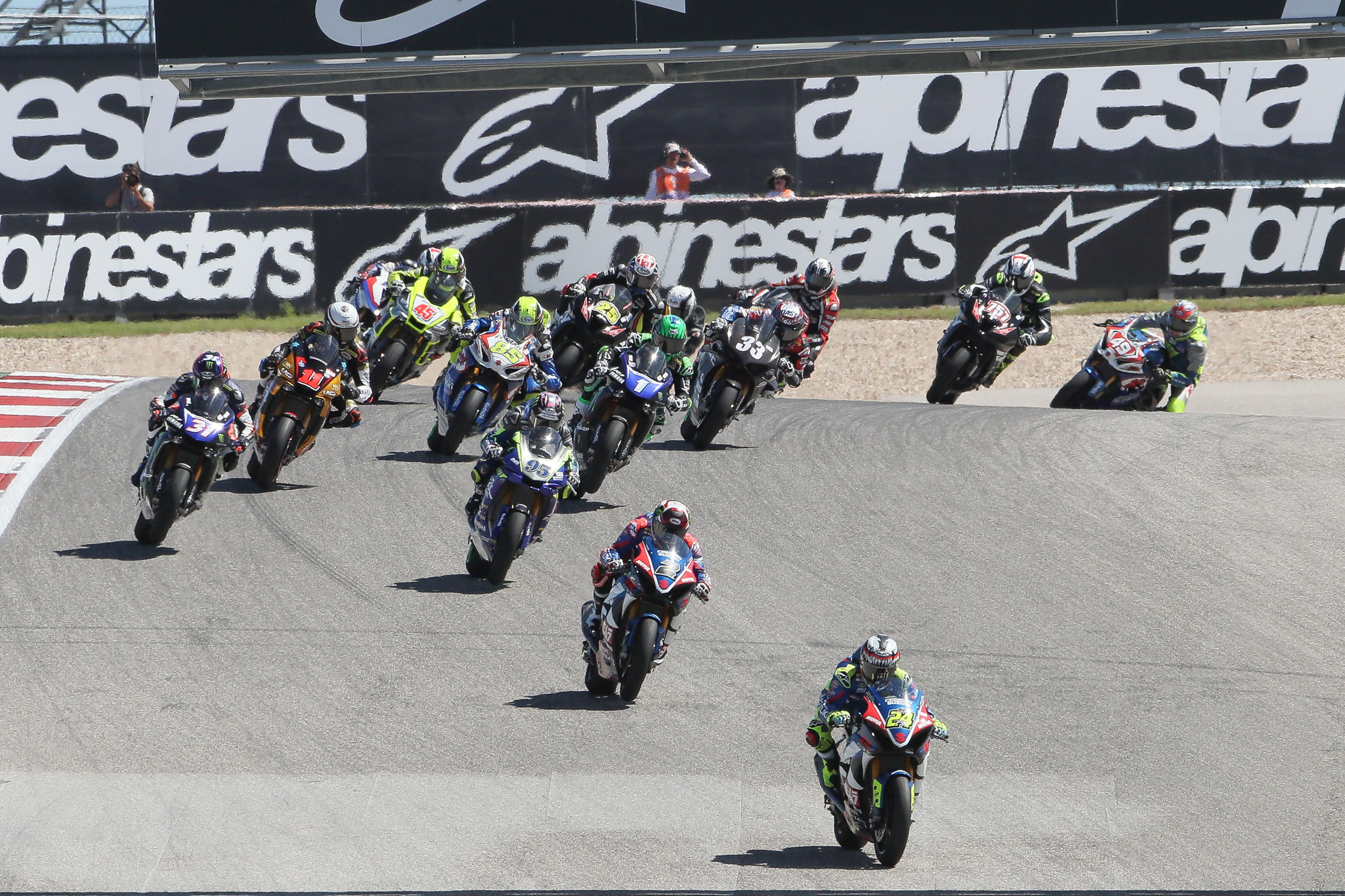 Toni Elias (24) led off the start of the second EBC Brakes Superbike race at COTA