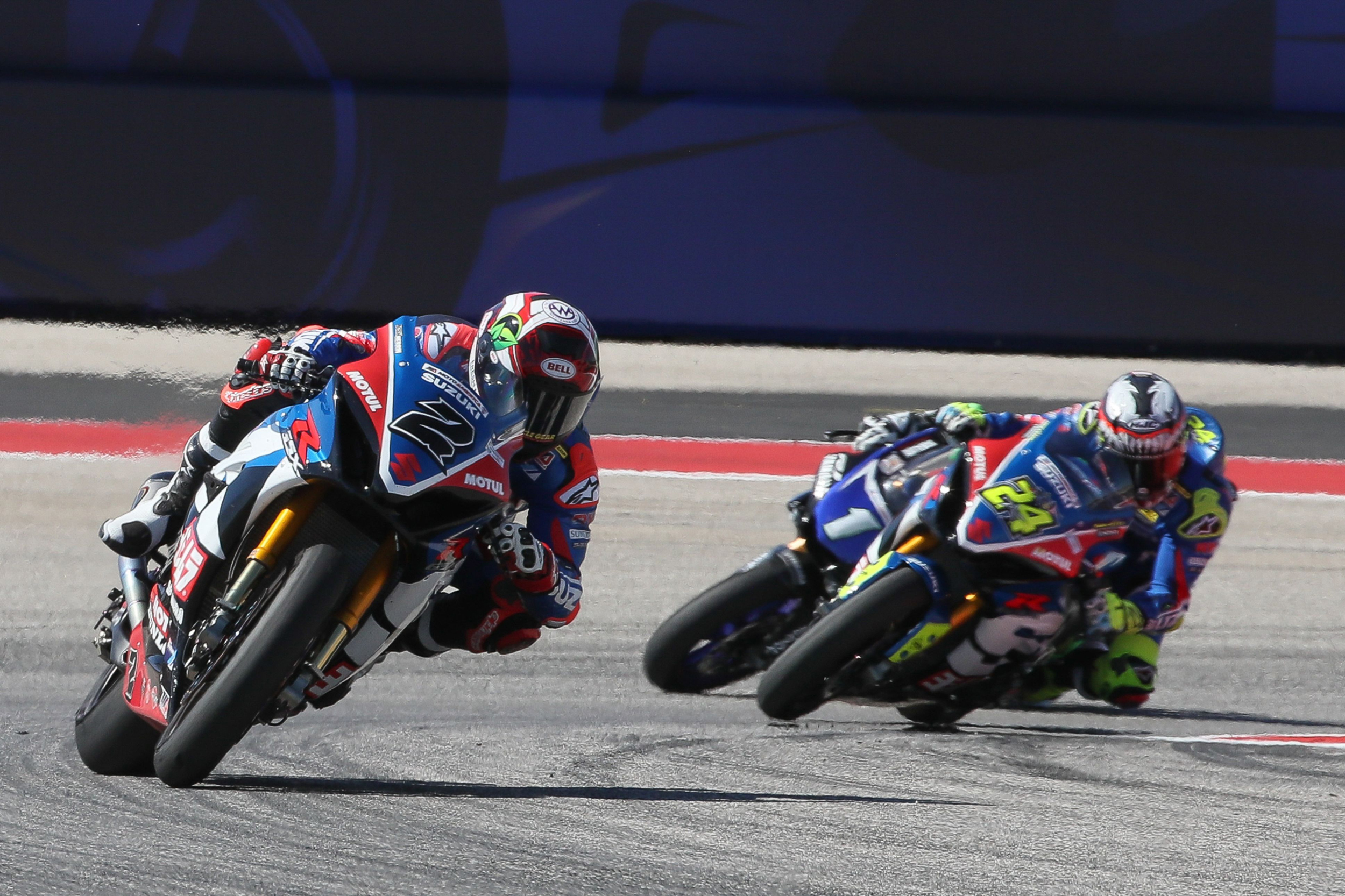 Josh Herrin (#2) and Toni Elias (#24) team up to take a strong 1-2 finish in Superbike Race Two on Sunday [4]