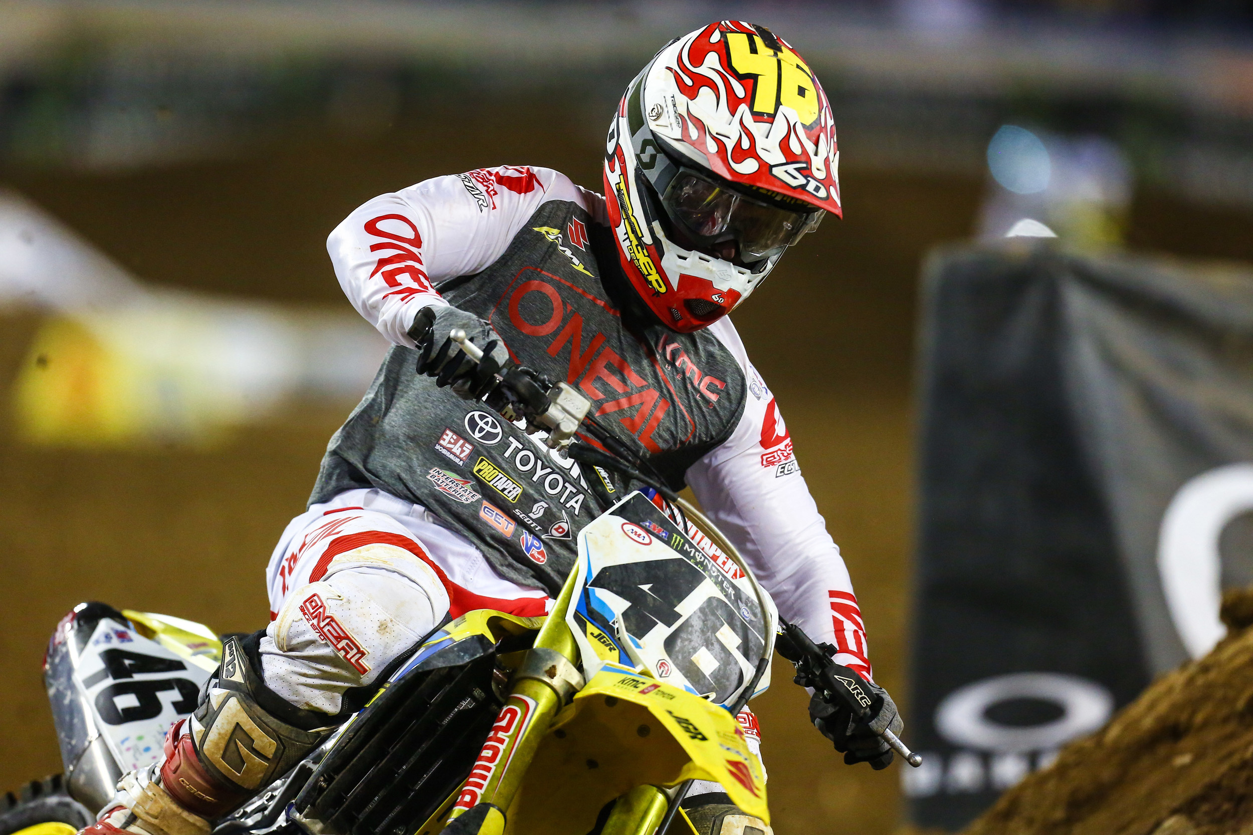 JGRMX - Justin Hill (#46) suffered in an injury during practice but fought through the pain in the main. - Nashville Monster Energy Supercross